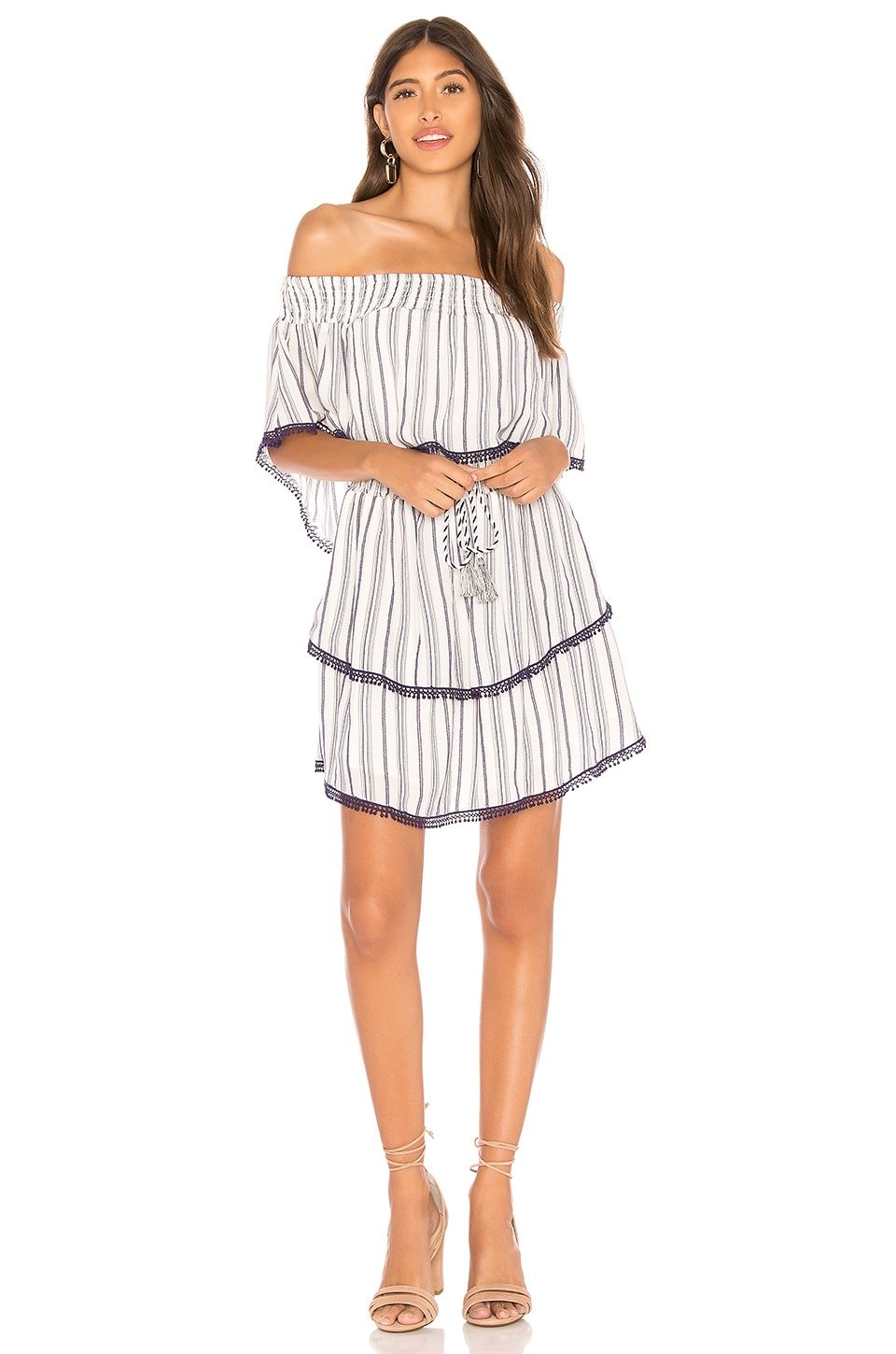 THE JETSET DIARIES Aries Stripe Mini Dress in Navy & Ivory