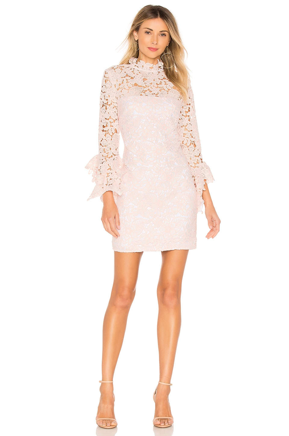 THE JETSET DIARIES Frangapani Lace Mini Dress in Cream & Blush