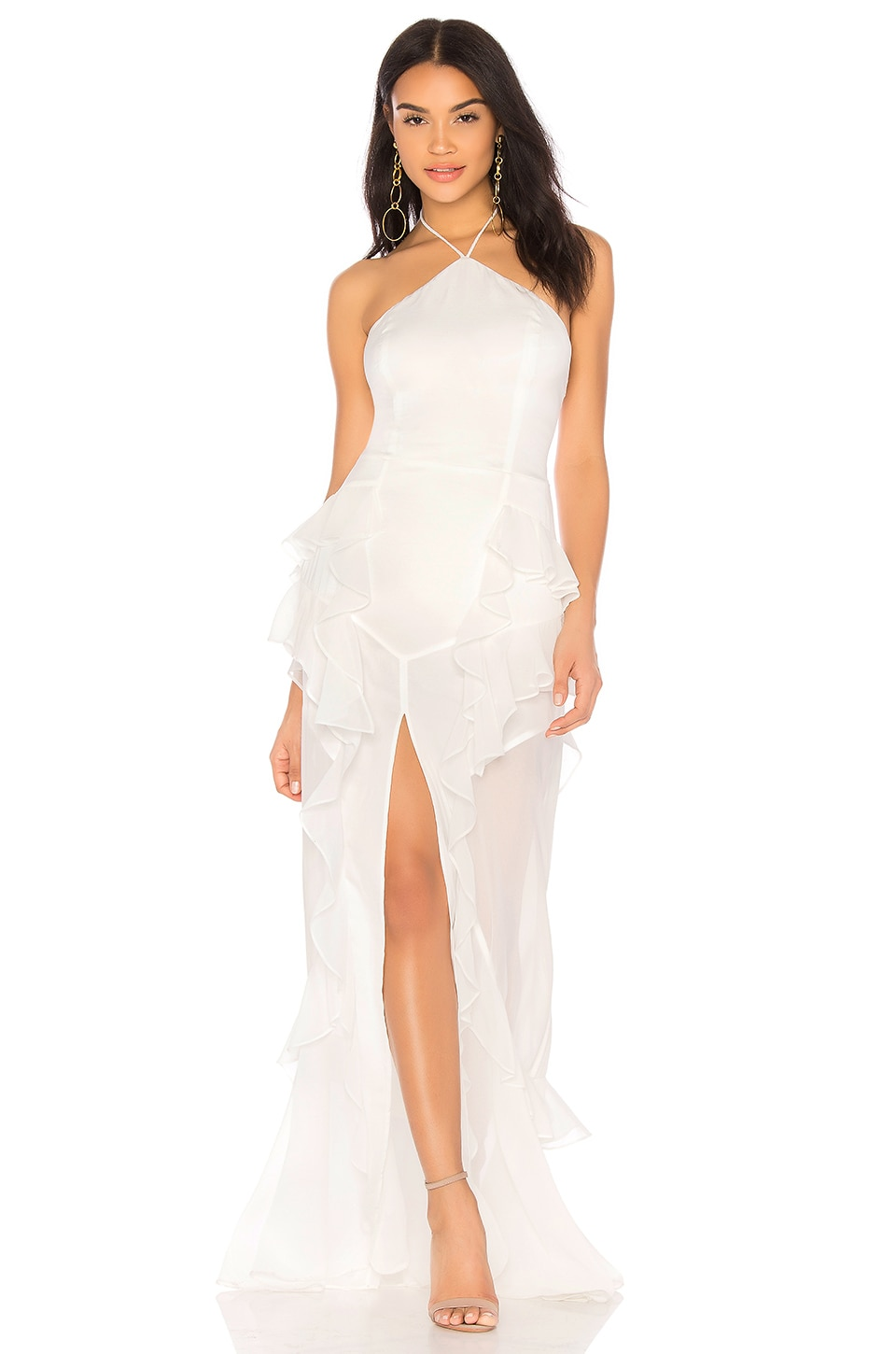 THE JETSET DIARIES Fara Halter Maxi Dress in Ivory