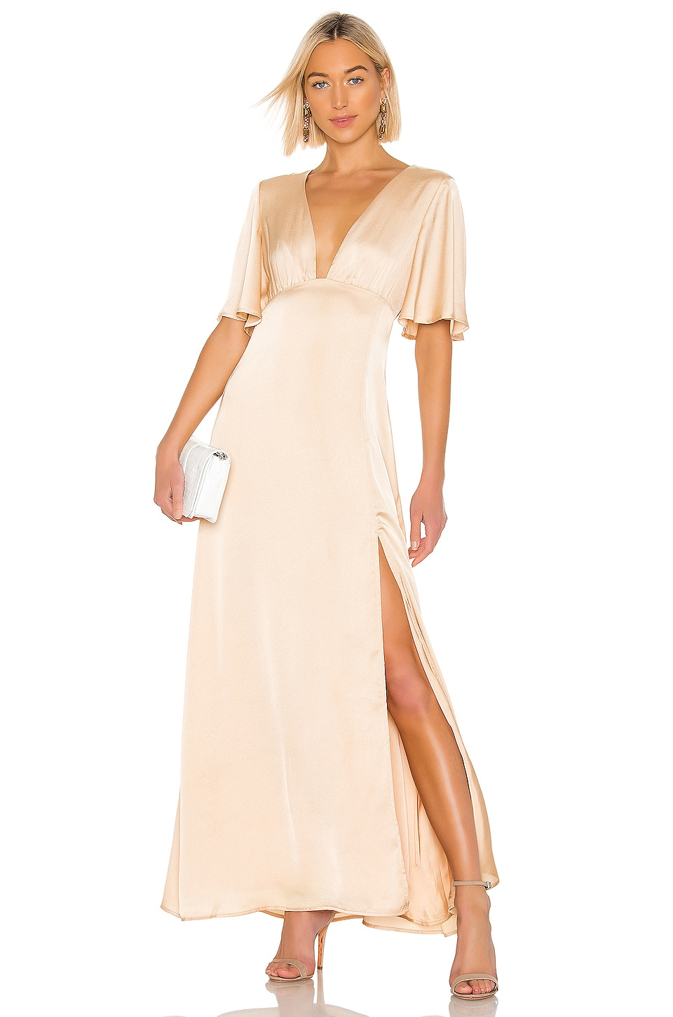 THE JETSET DIARIES Here Comes The Sun Maxi Dress in Gold