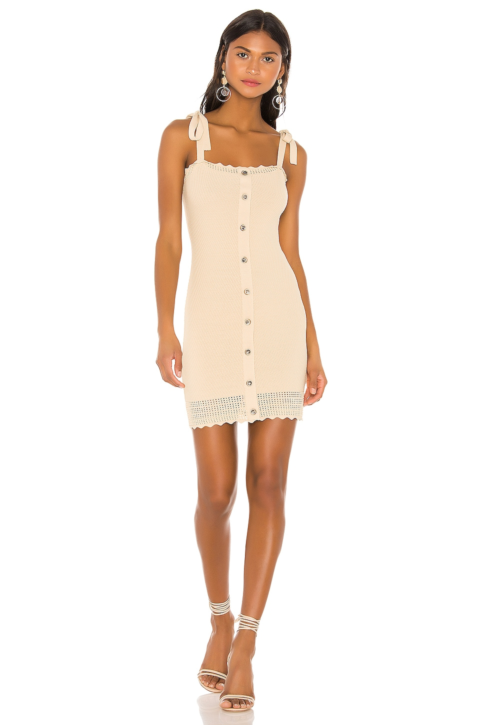 THE JETSET DIARIES Love Song Mini Dress in Sand/Cream