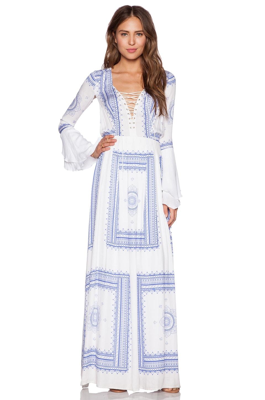 THE JETSET DIARIES Santorini Maxi Dress in Scarf Print