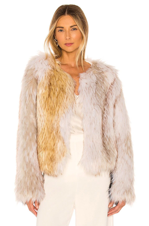 THE JETSET DIARIES Love Test Faux Fur Coat in Tan, Ivory & Black