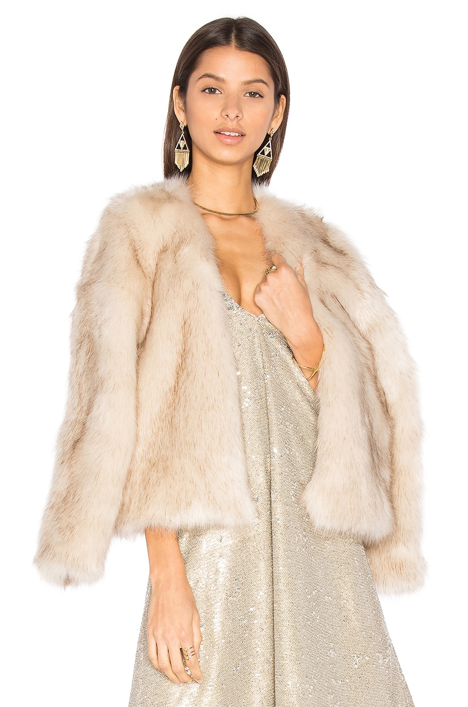THE JETSET DIARIES Chatel Faux Fur Coat in Silver Fox