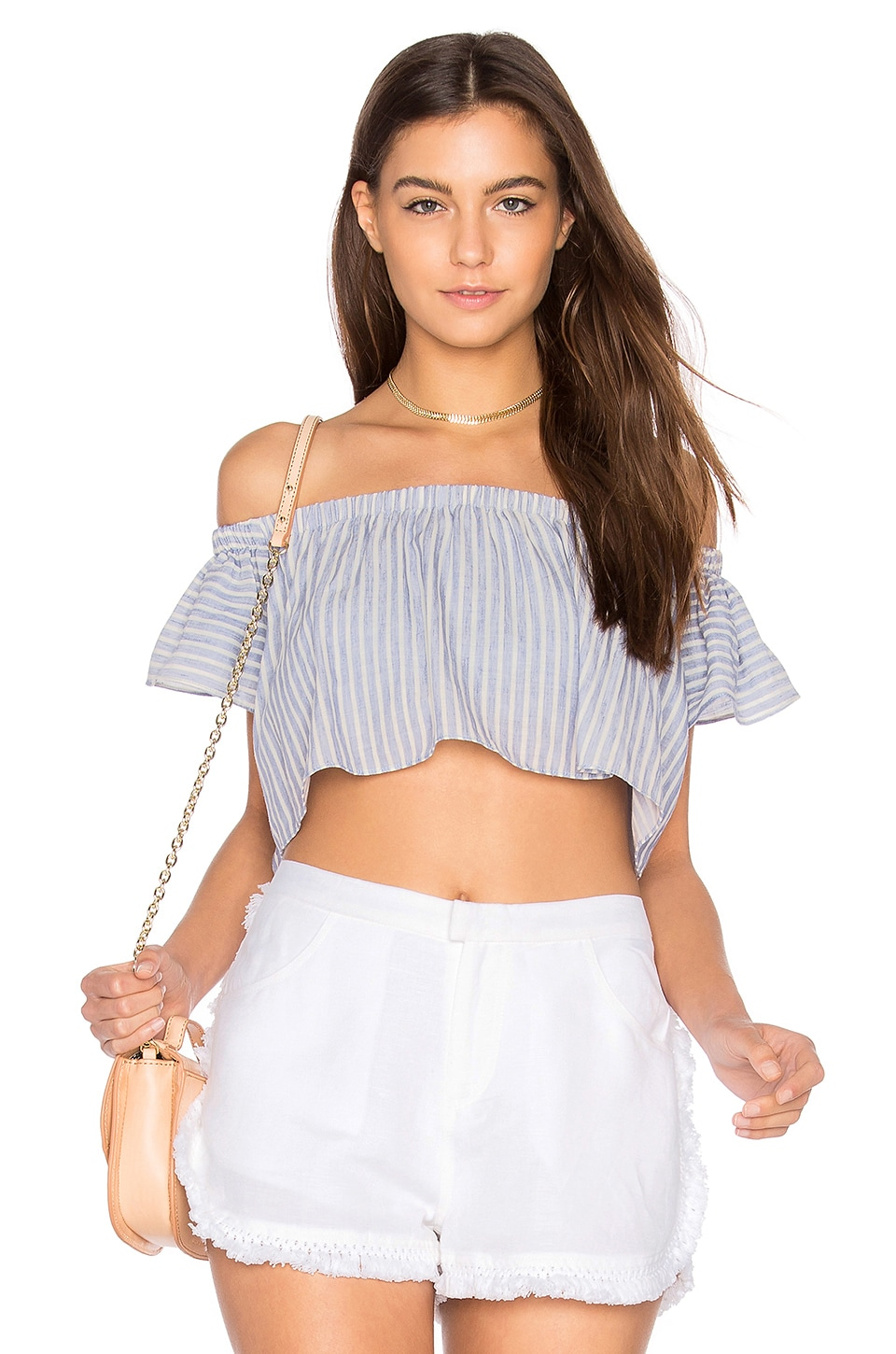 THE JETSET DIARIES Haven Crop Top in Chambray Stripe