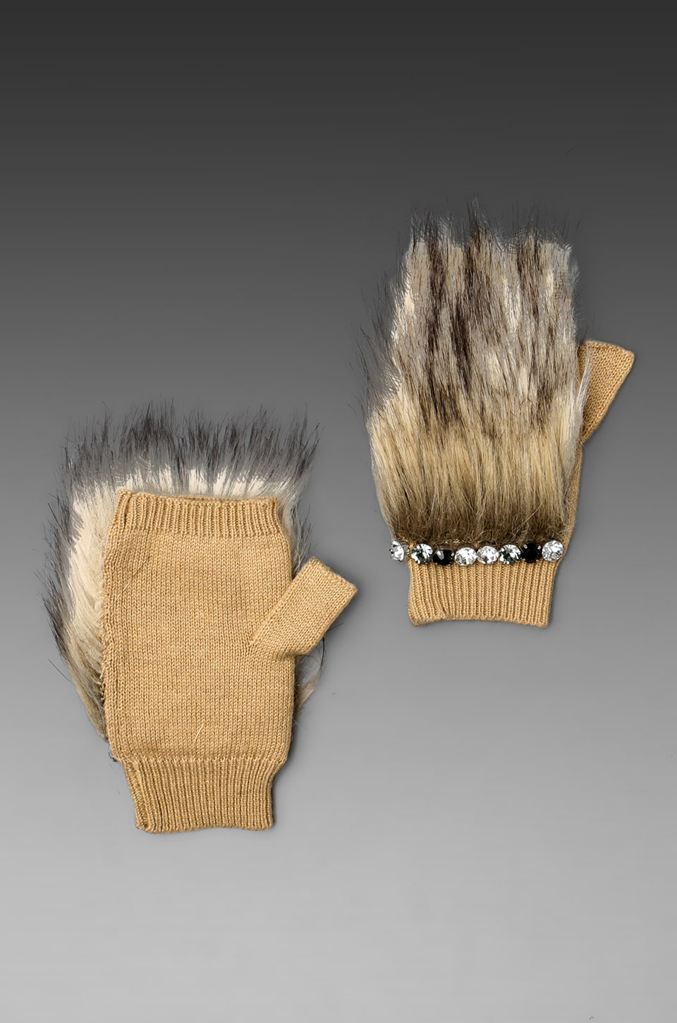 Juicy Couture Faux Fur Handwarmers in Natural