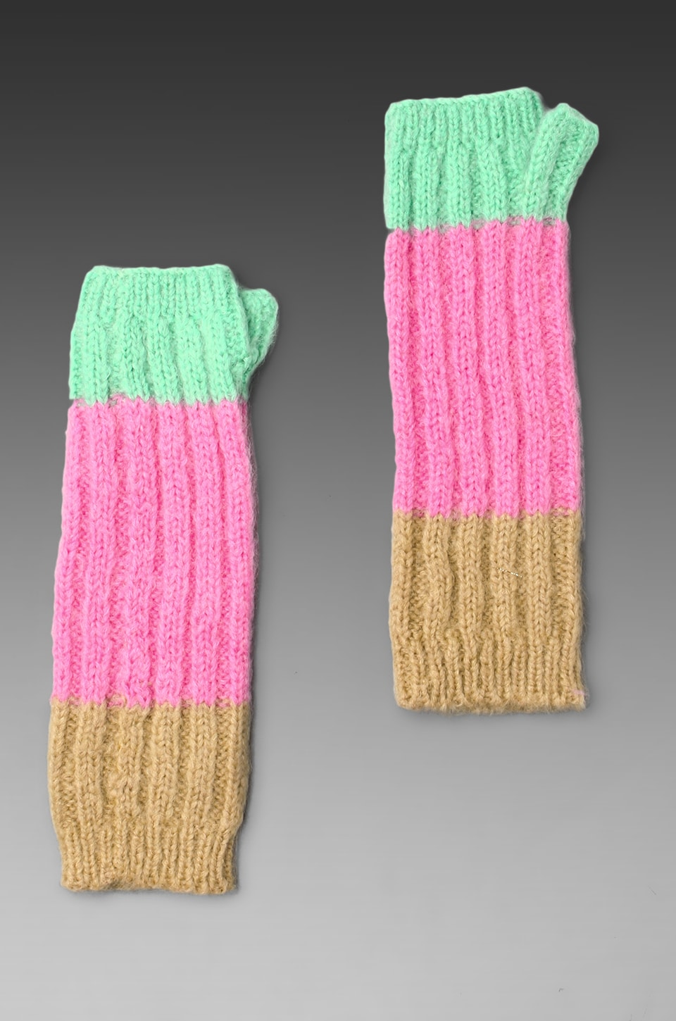 Juicy Couture Mohair Colorblock Fingerless Gloves in Pink Topaz Colorblock