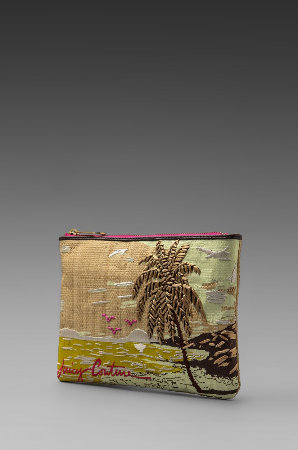 Juicy Couture Raffia Palm Tree Pouch in Natural