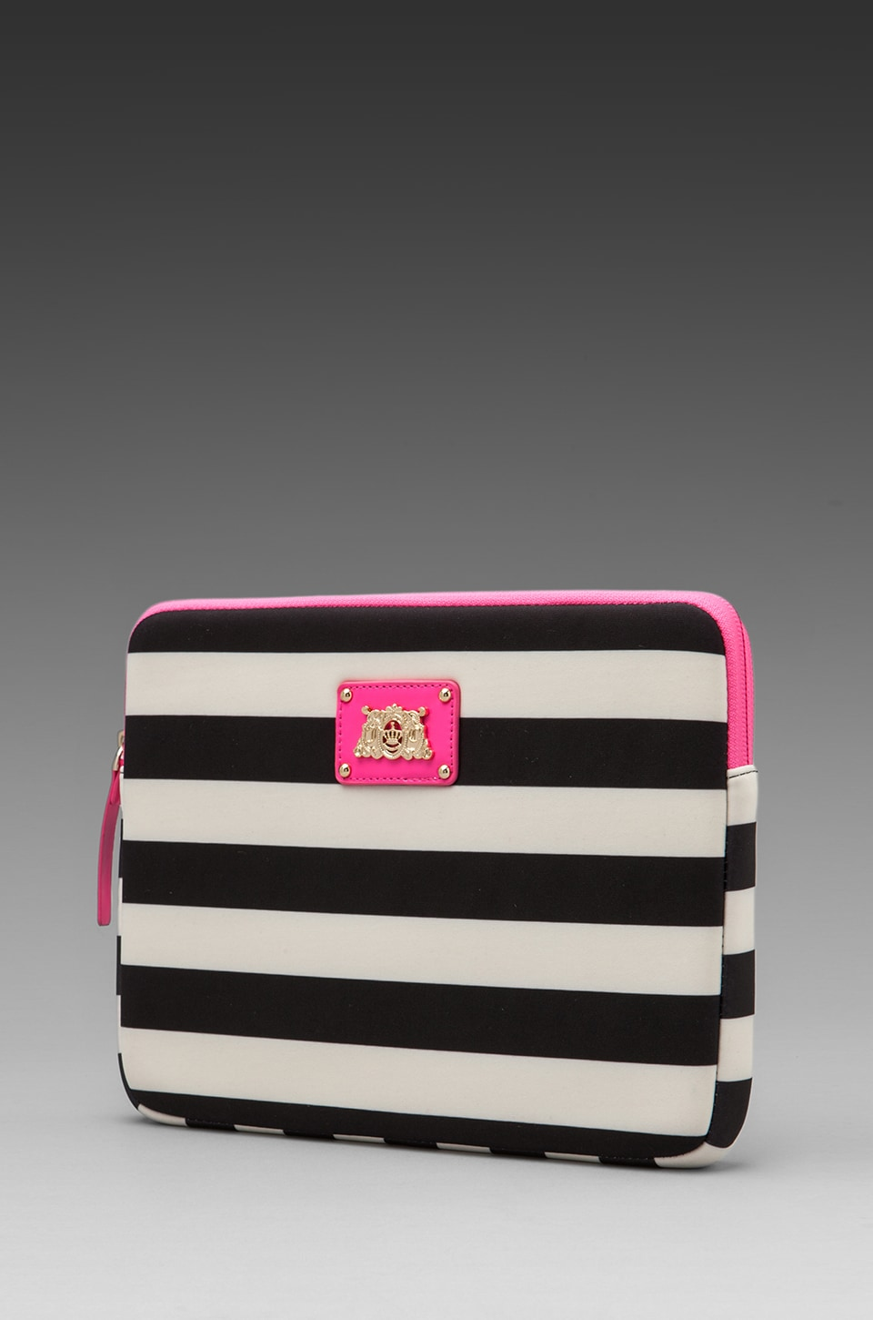 Juicy Couture Bar Stripe Neoprene iPad Case in Black