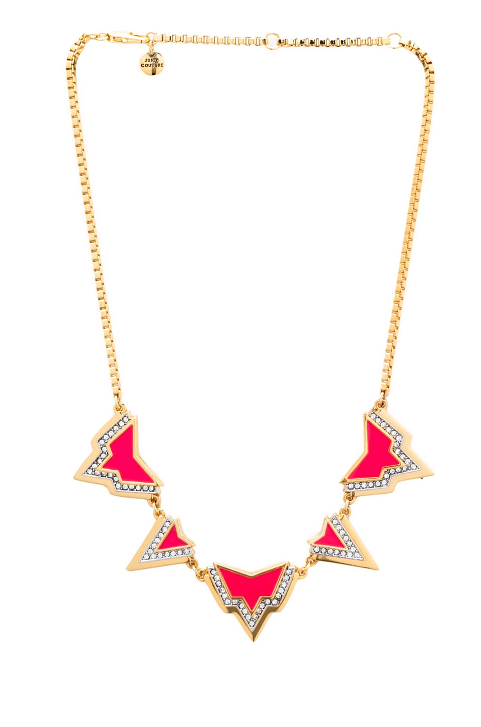 Juicy Couture Deco'd Out Angular Spike Necklace in Hot Pink