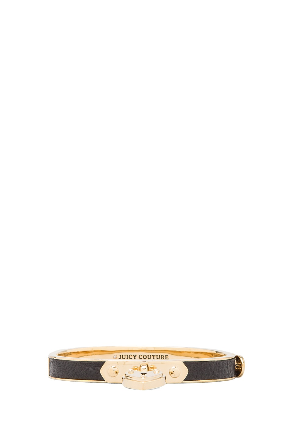 Juicy Couture Skinny Padlock Leather Bracelet in Black