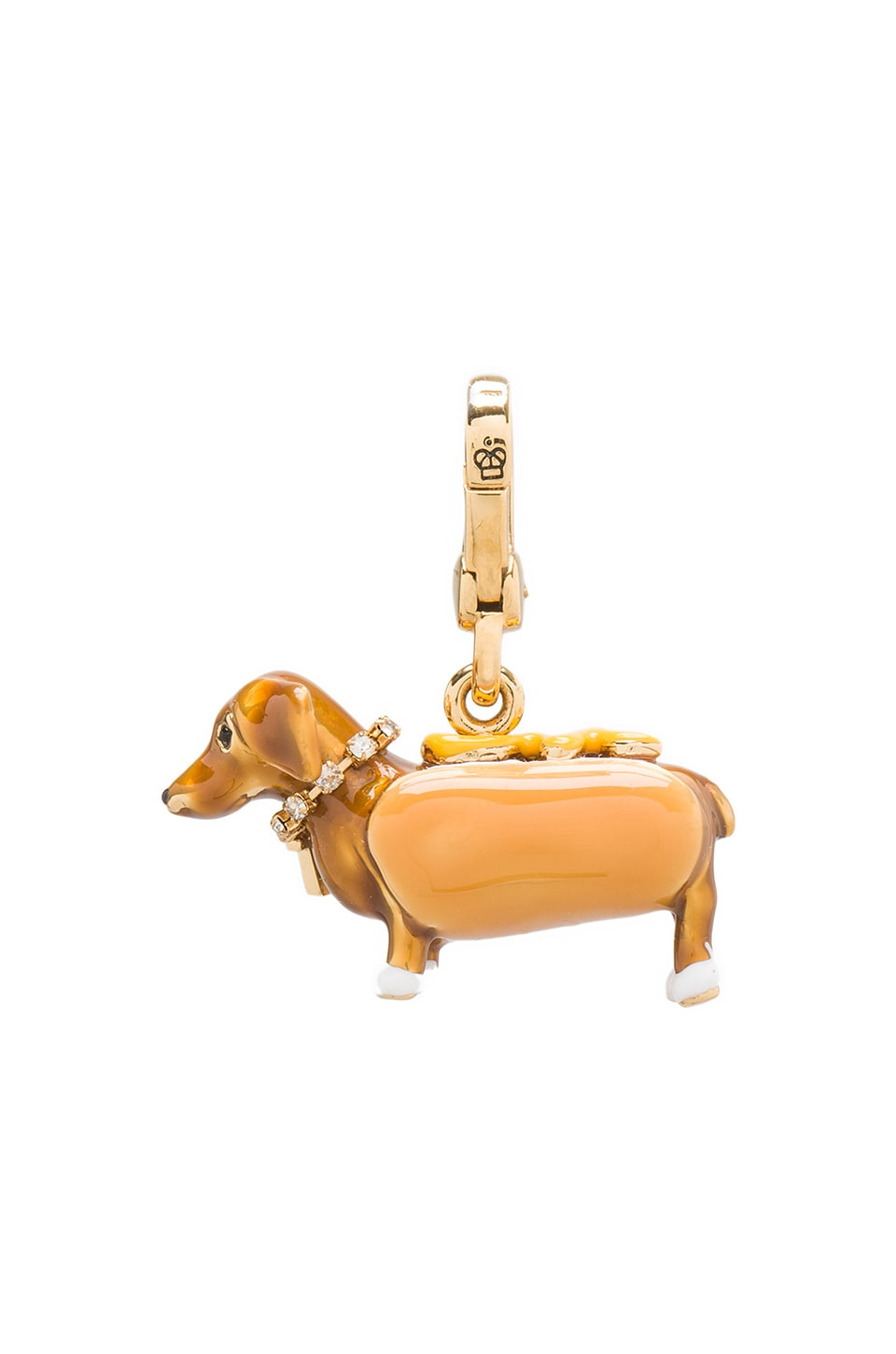 Juicy Couture Dachsund In A Hot Dog Bun Charm in Gold