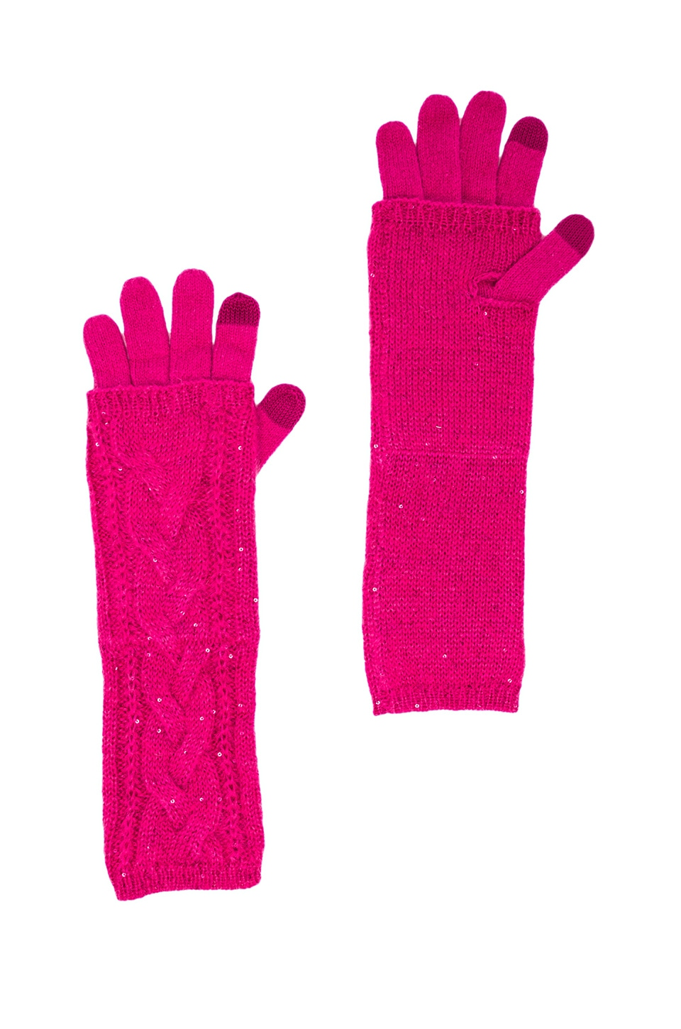 Juicy Couture Sparkle Cable Layered Texting Gloves in Cashmere Rose
