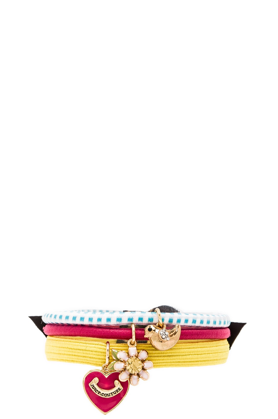 Juicy Couture Set of 3 Hair Elastics in Yellow