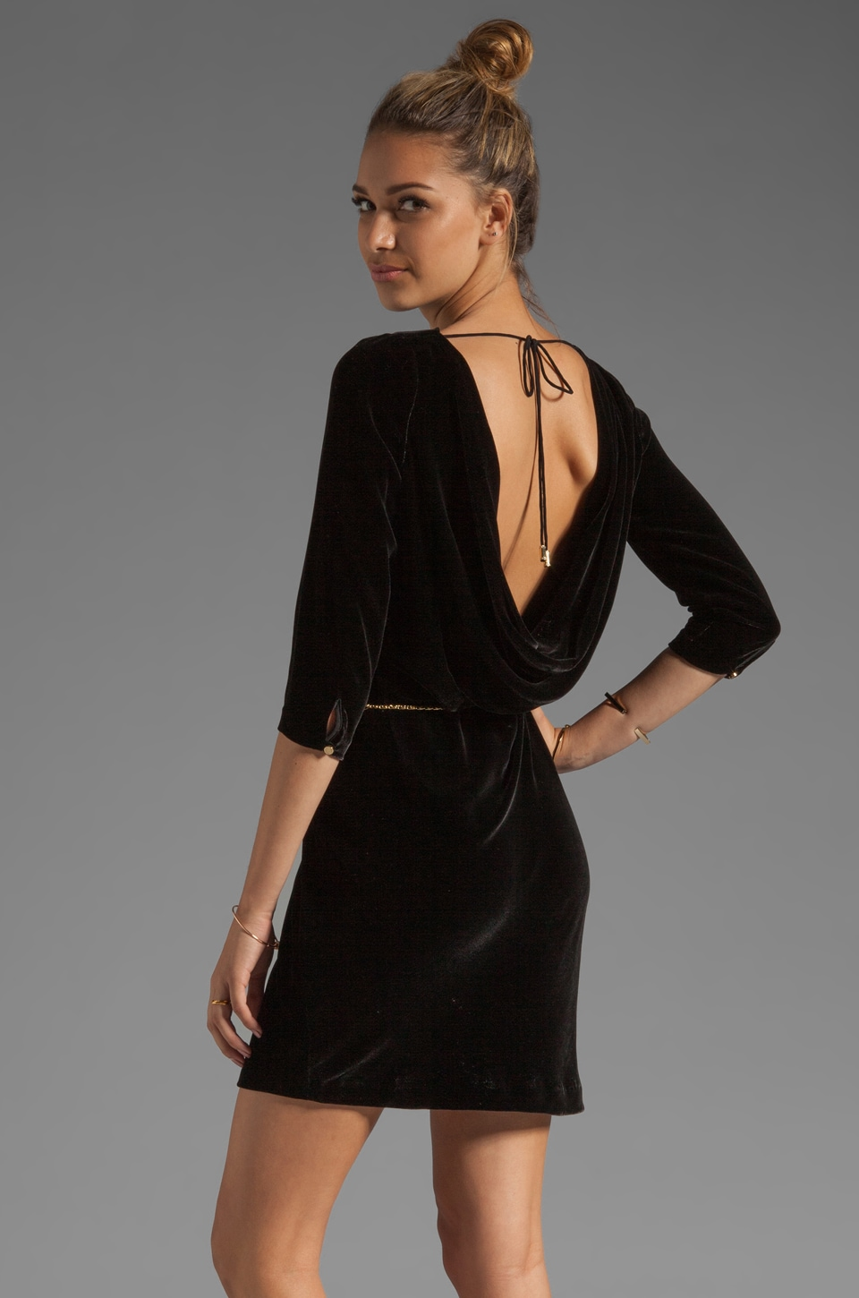 Juicy Couture Velvet Cowl Back Dress in Pitch Black