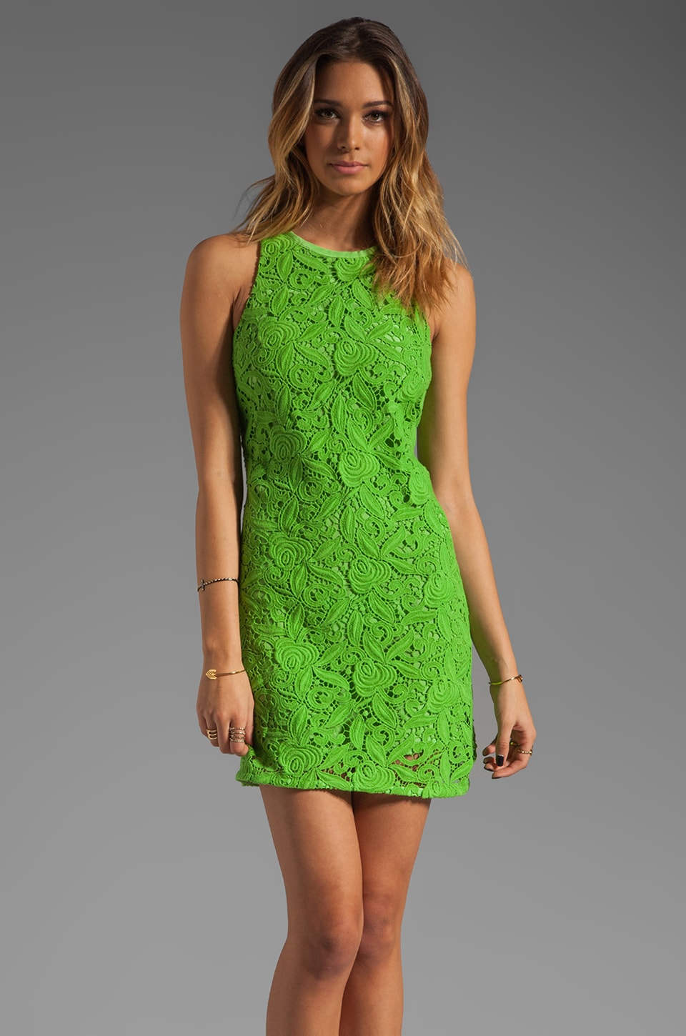 Juicy Couture Guipuere Lace Dress in Sour Apple
