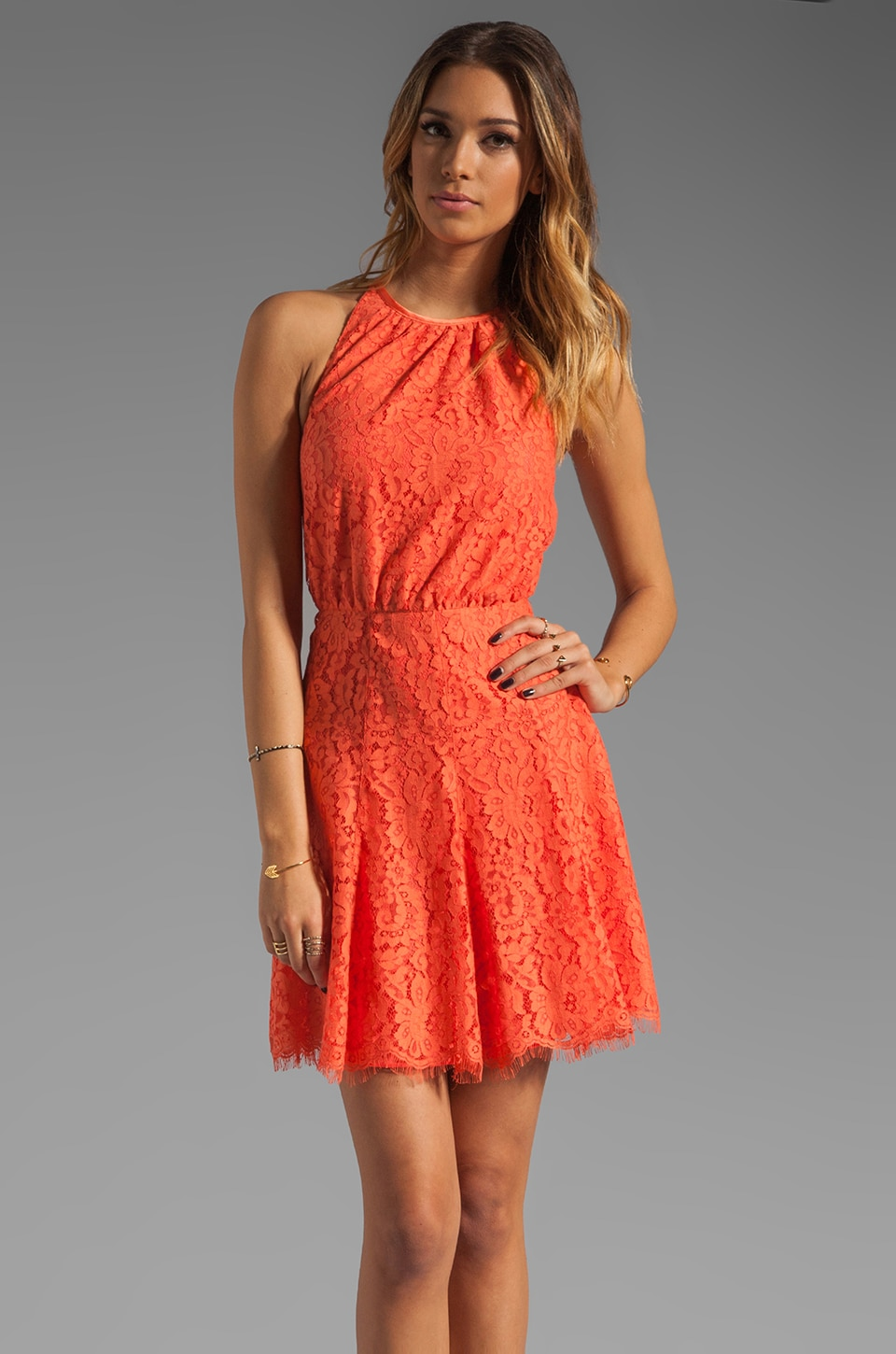 Juicy Couture Scallop Lace Dress in Sweet Clementine