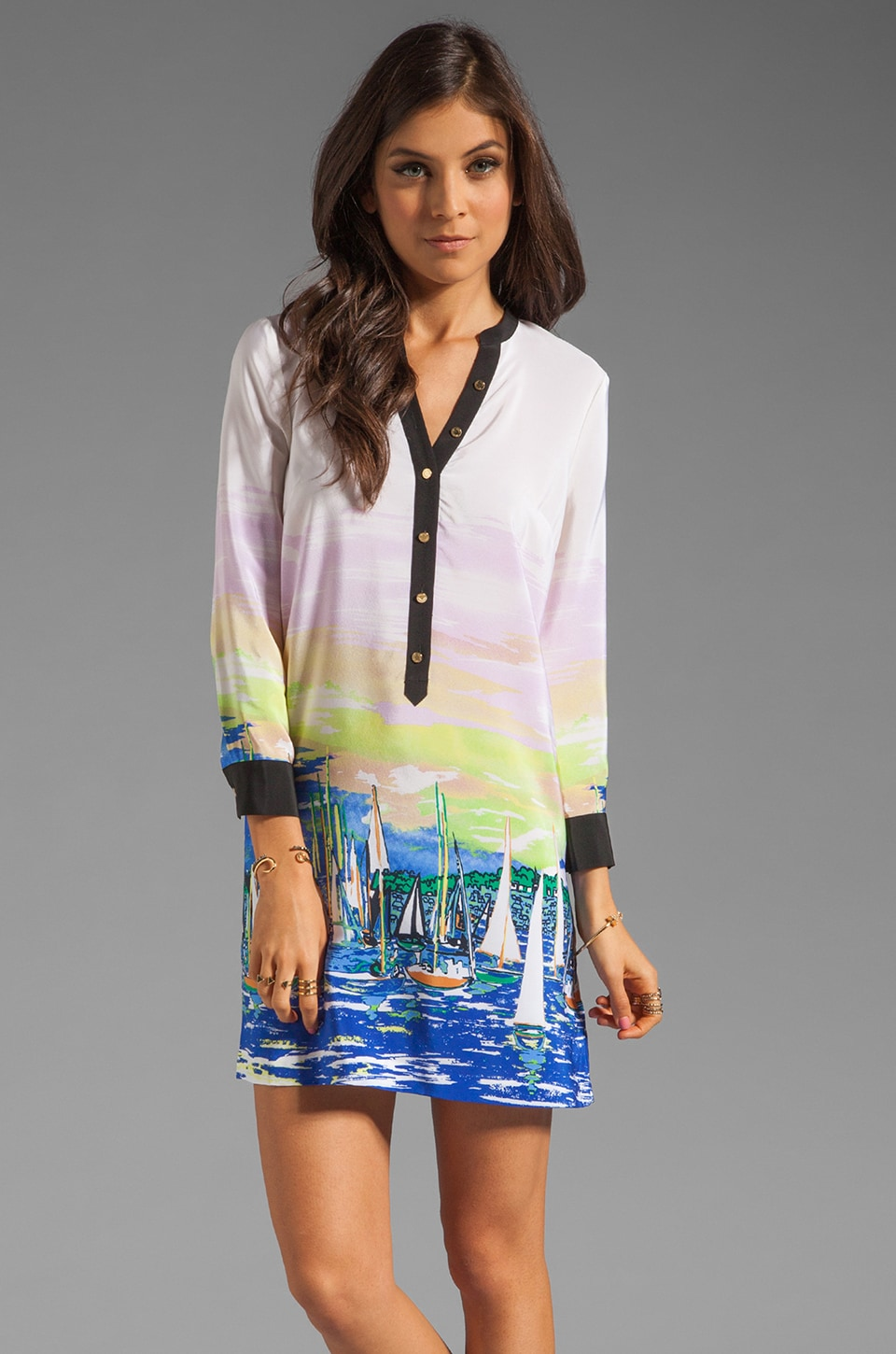 Juicy Couture Shirt Dress in Marina Print