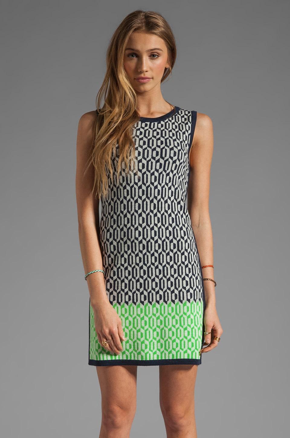 Juicy Couture Aquarius Geo Sleeveless Dress in Regal/Dark Sour Apple