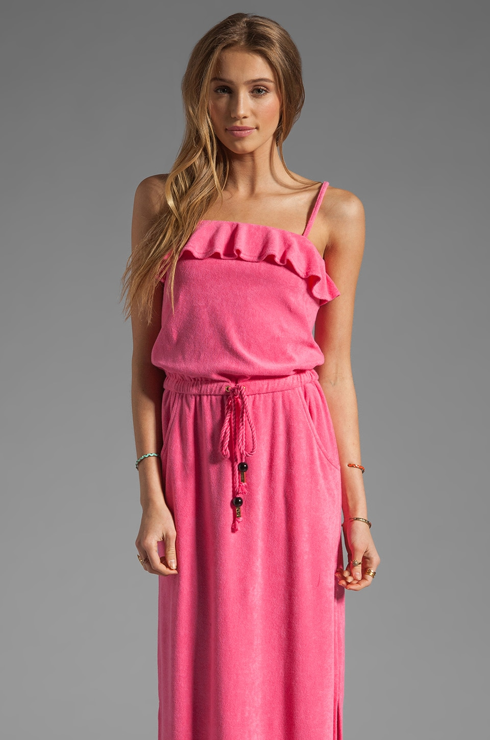 Juicy Couture Terry Maxi Dress in Passion Pink