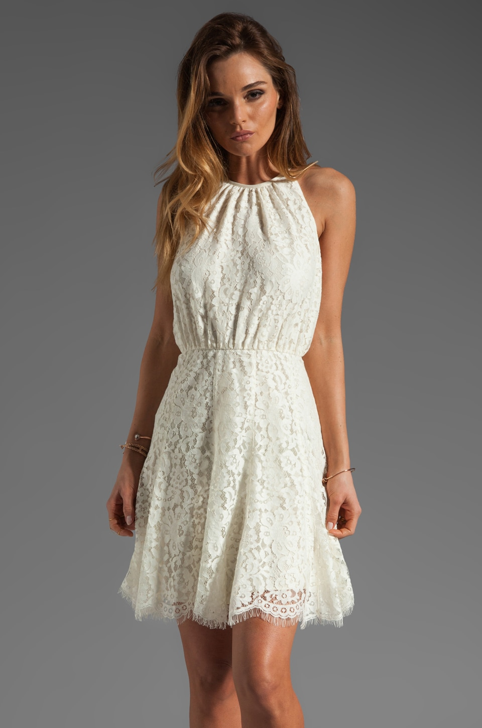 Juicy Couture Scallop Lace Dress in Angel