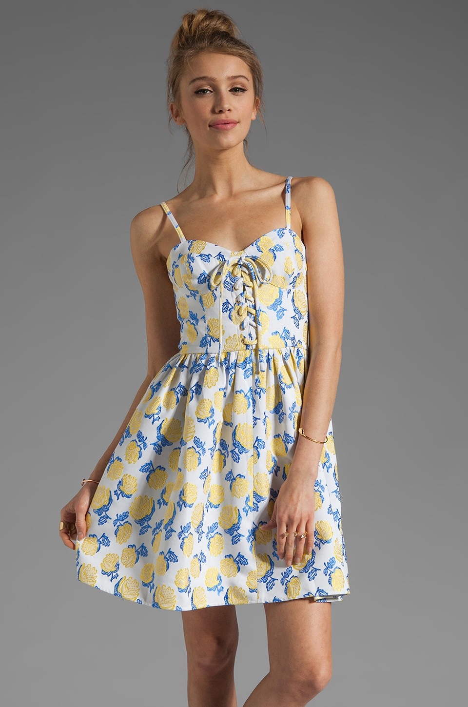 Juicy Couture Bright Rose Jacquard Bustier Dress in Yellow/Blue