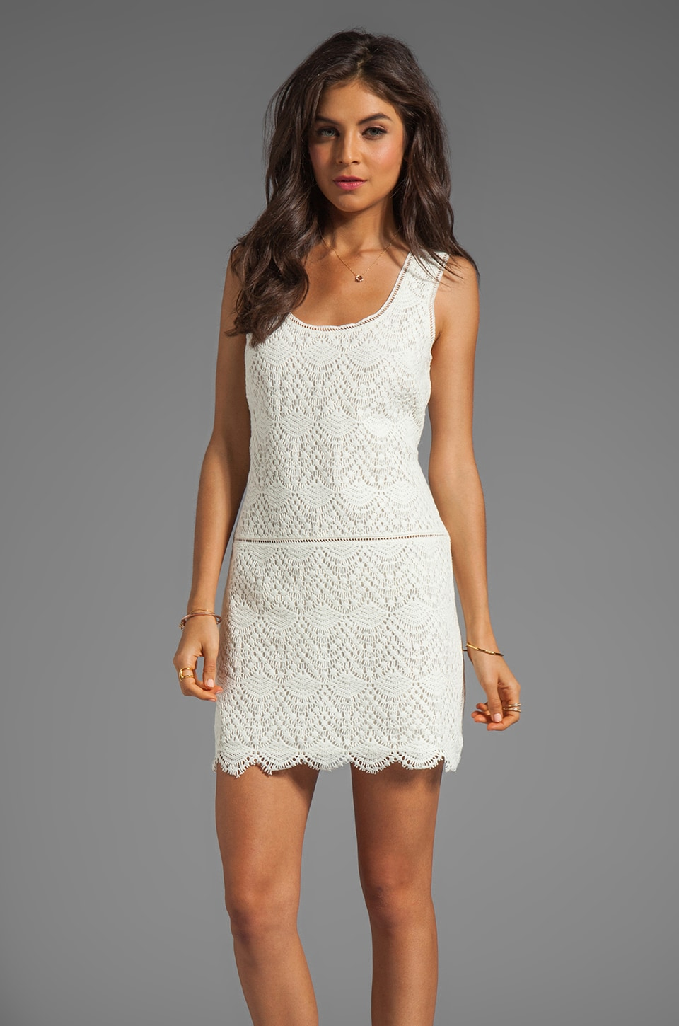 Juicy Couture Crochet Lace Tank Dress in Pitch White