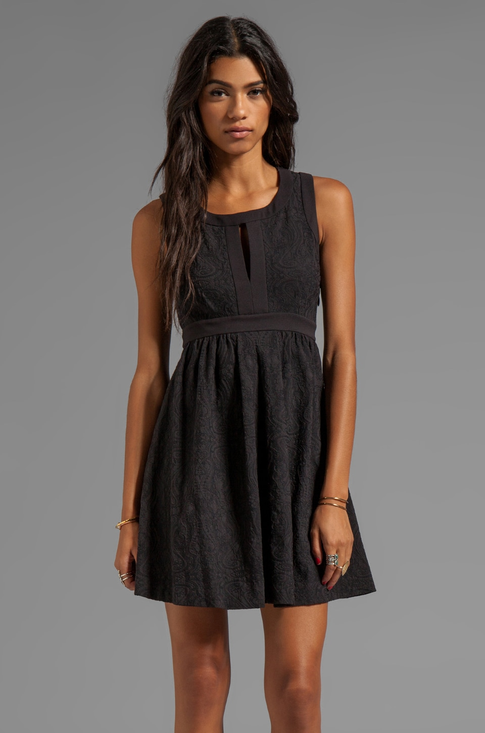 Juicy Couture Cloque Jacquard Dress in Pitch Black