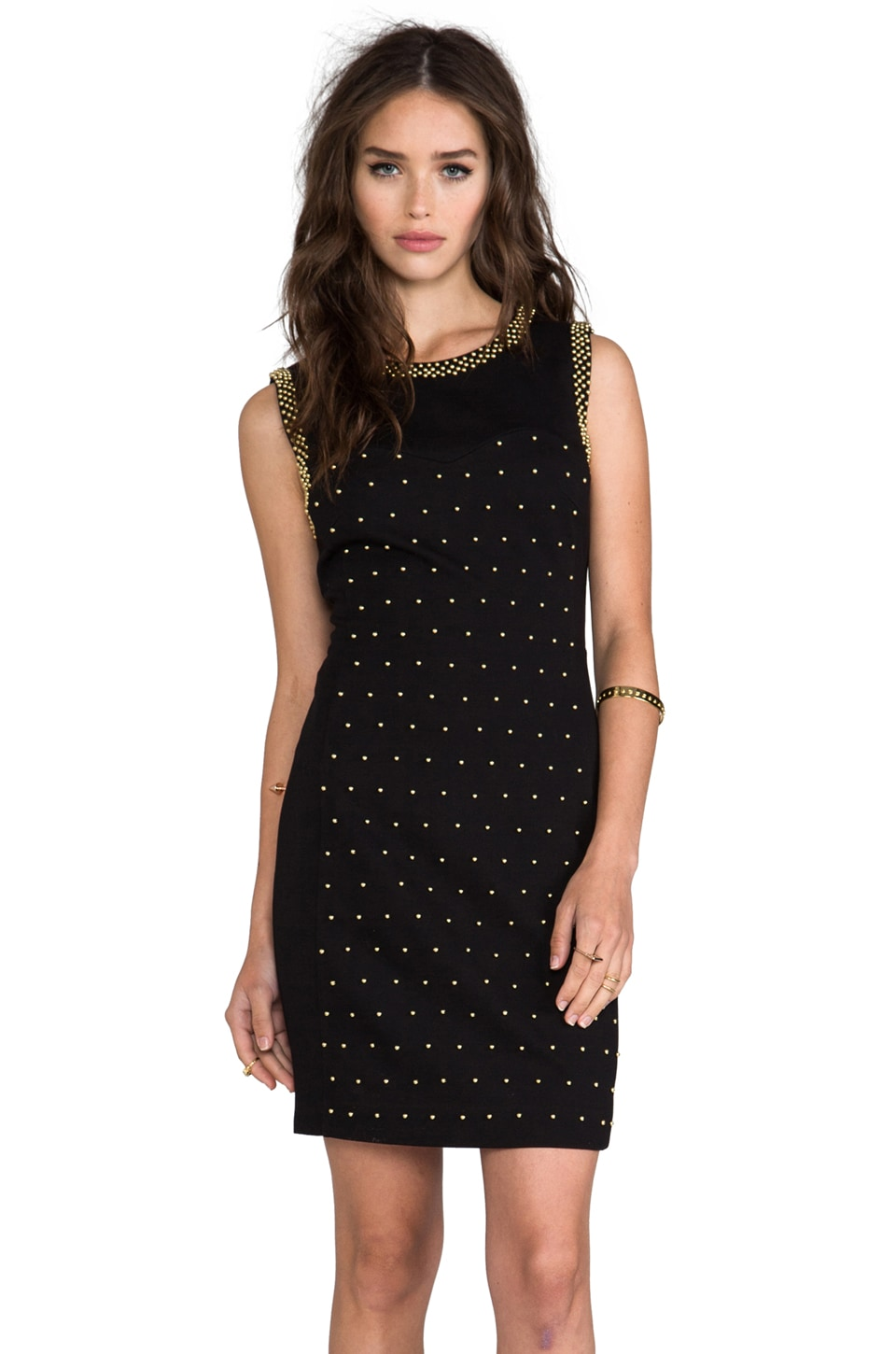 Juicy Couture Beaded Ponte Dress in Pitch Black