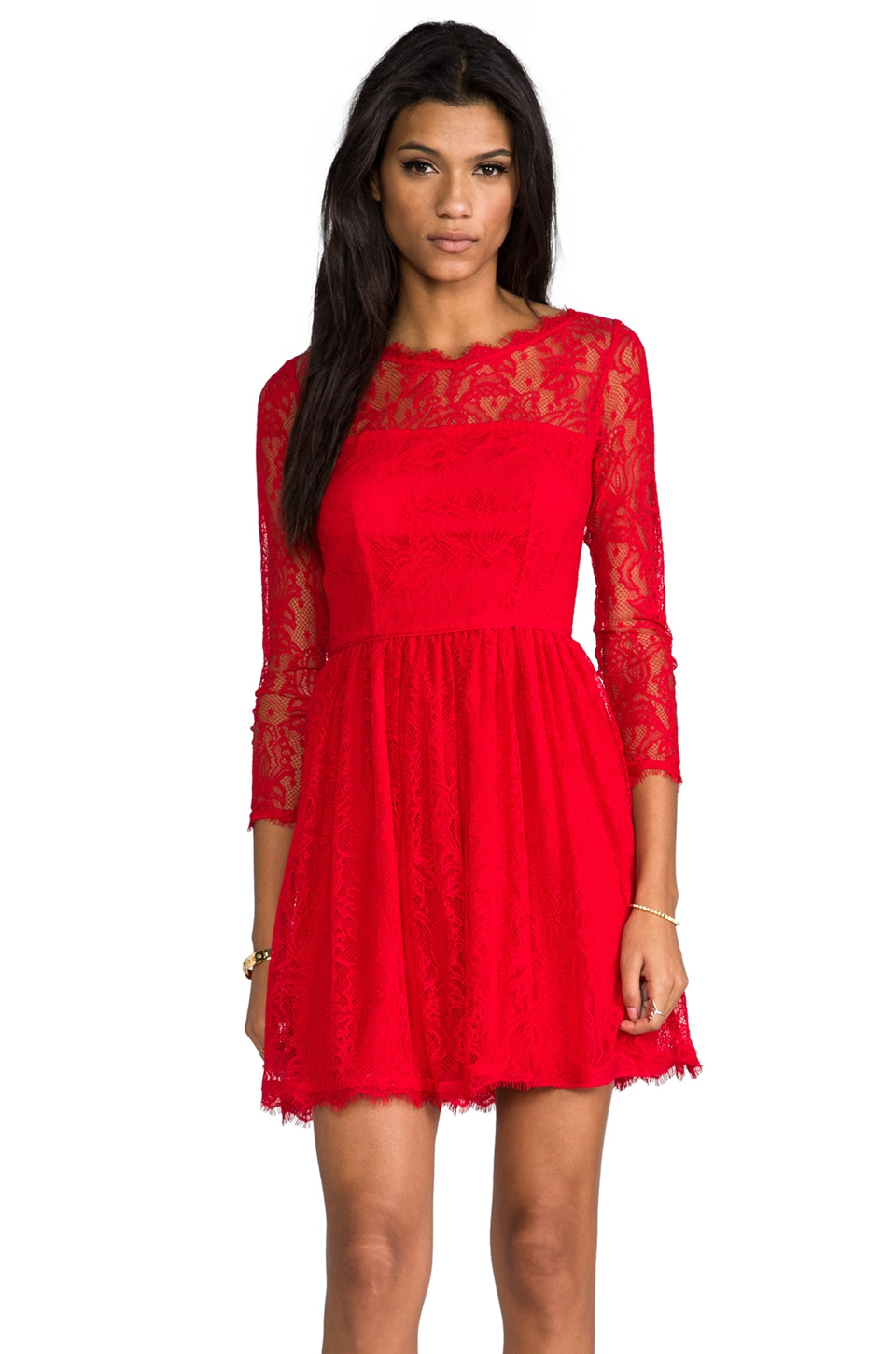 Juicy Couture Delicate Lace Dress in Lipstick Red