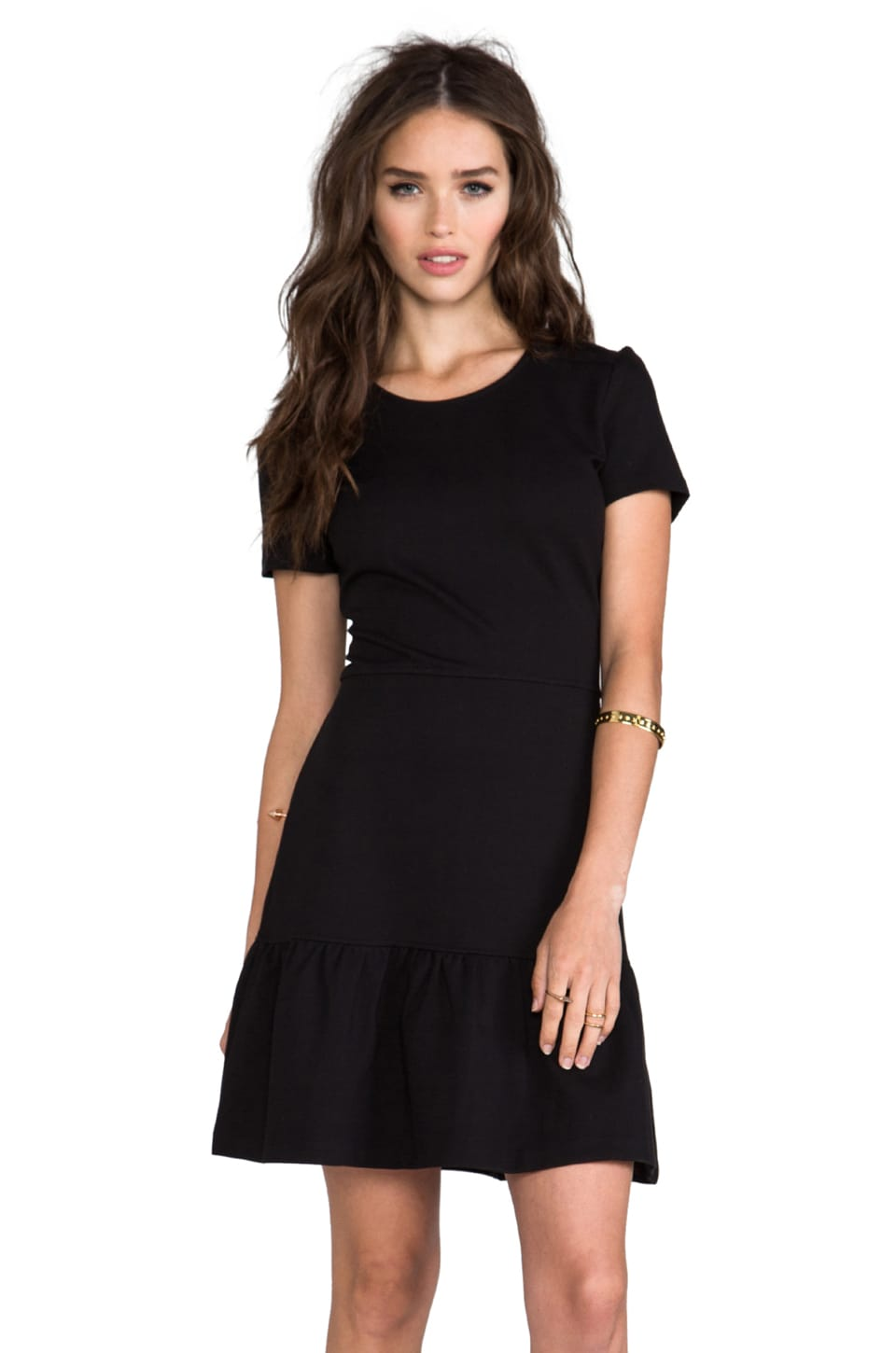 Juicy Couture Solid Ponte Flirty Dress in Pitch Black