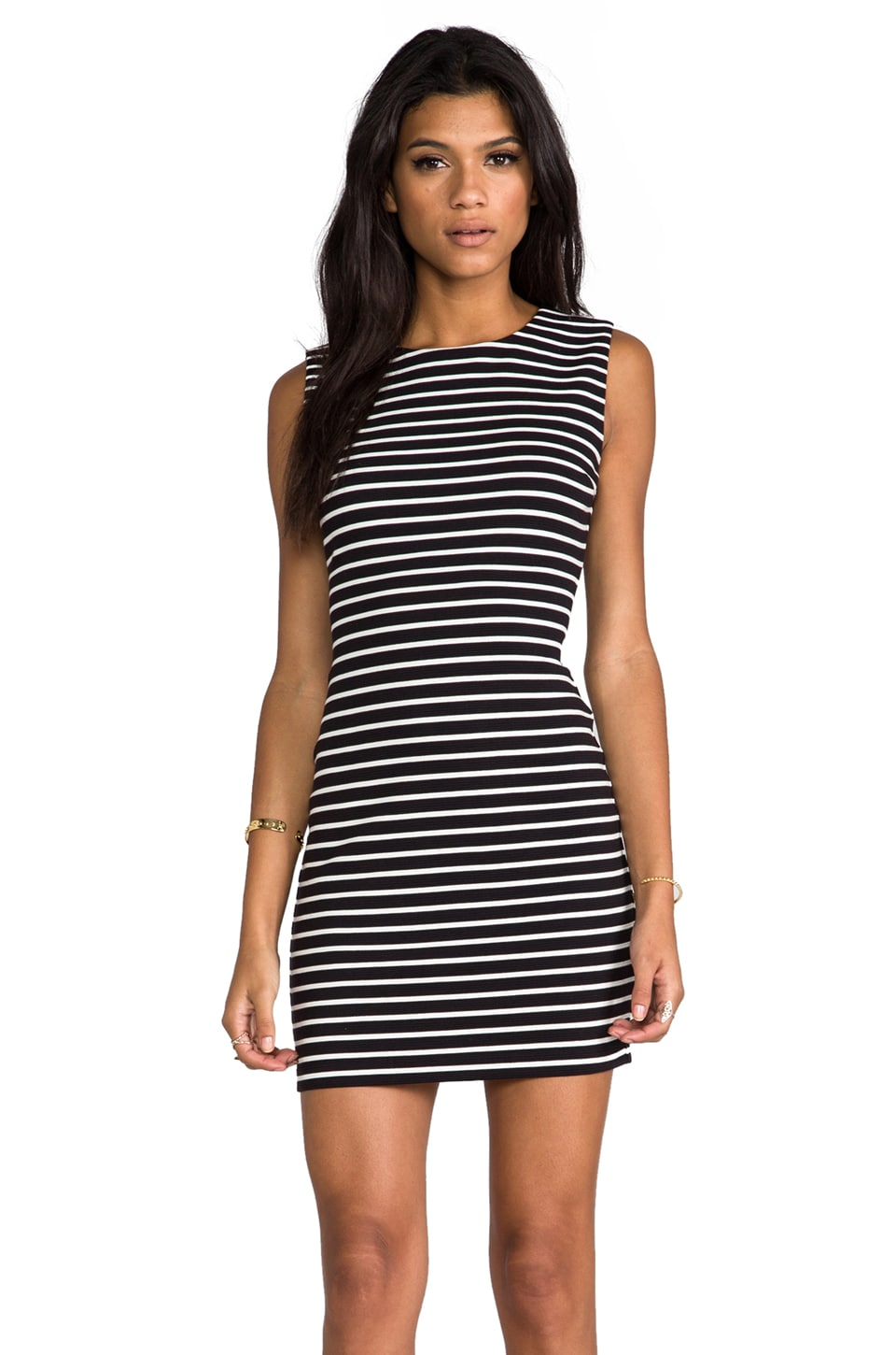 Juicy Couture Fitted Stripe Ponte Dress in Black/Angel