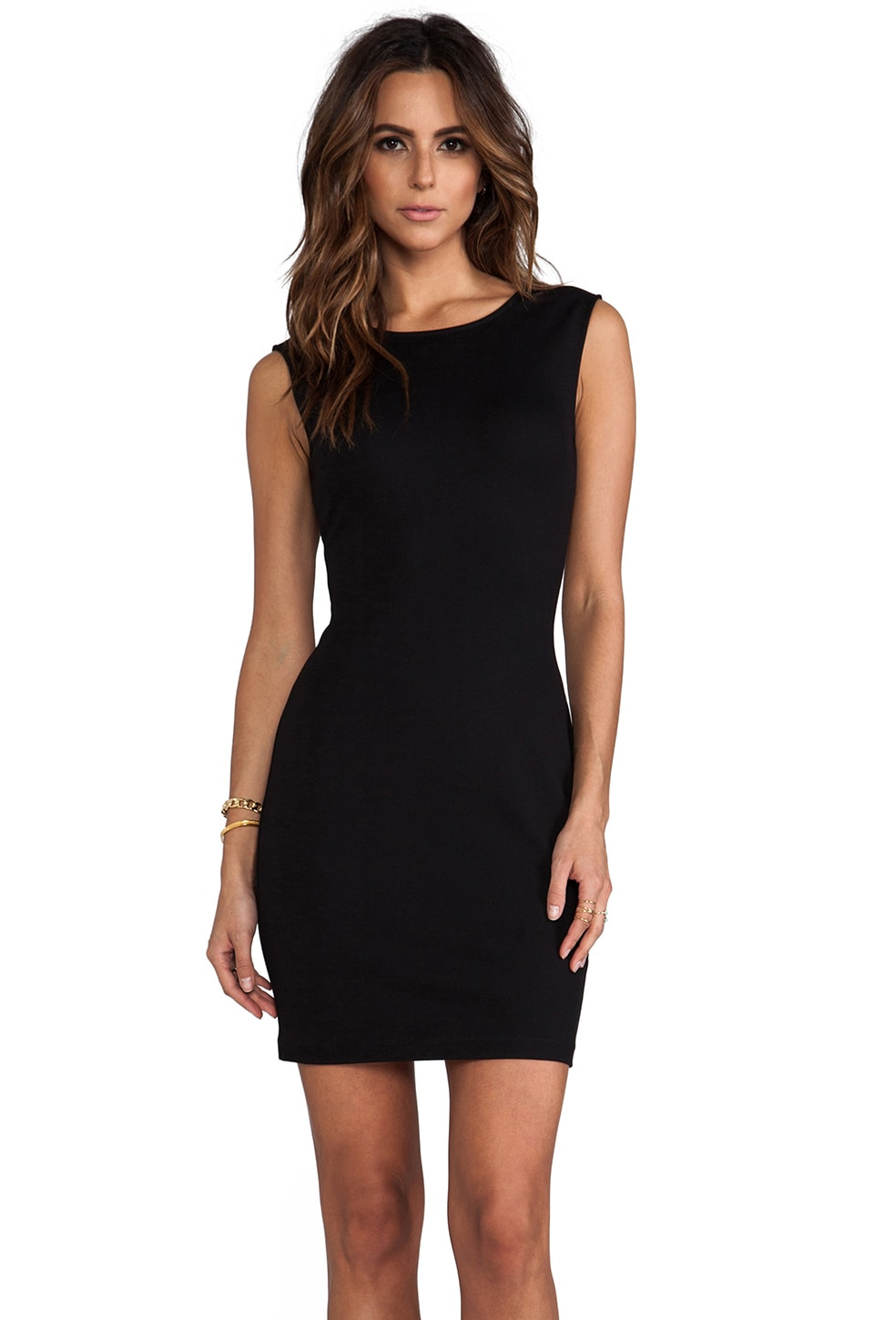 Juicy Couture Solid Ponte Dress in Pitch Black