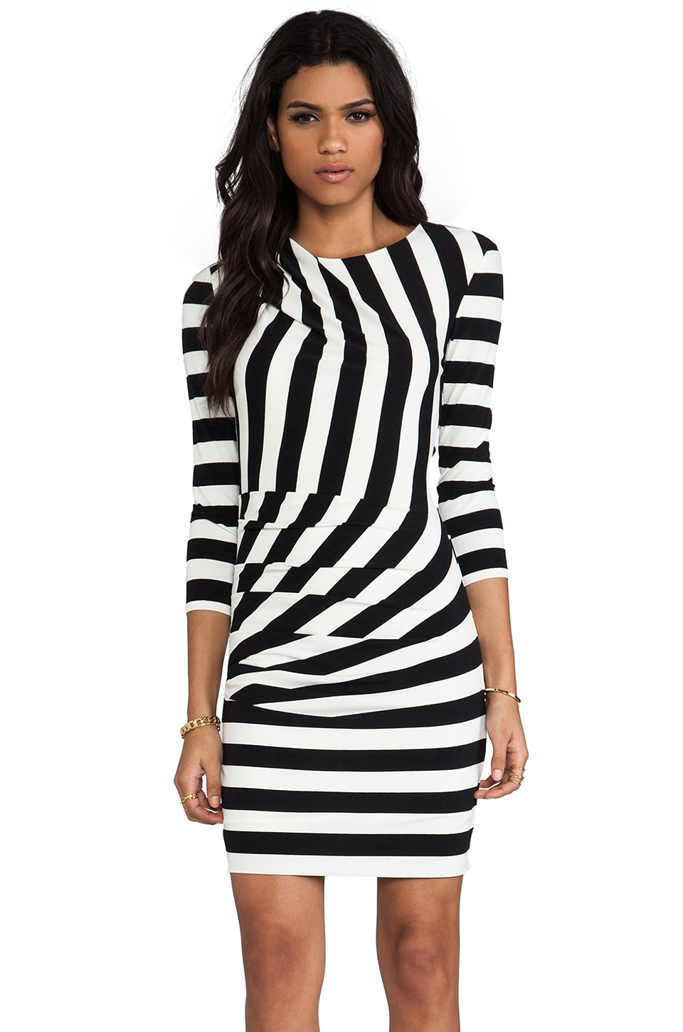Juicy Couture Promenade Stripe 3/4 Sleeve Dress in Black & Angel