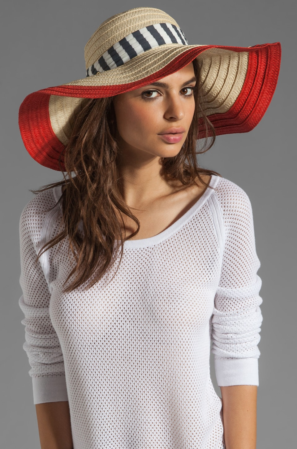 Juicy Couture Wide Brim Straw Sun Hat in Coral Gloss