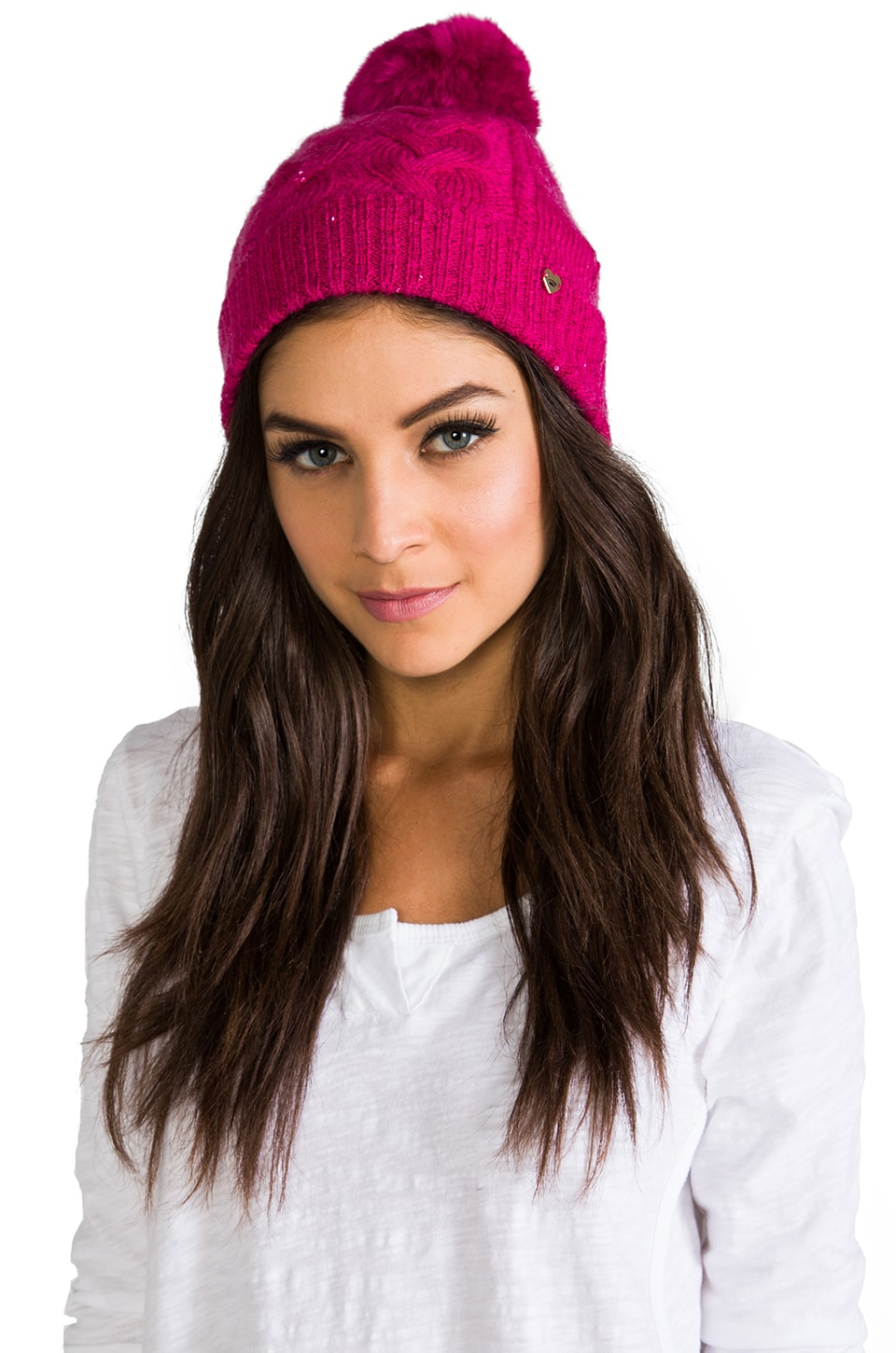 Juicy Couture Sparkle Cable Beanie with Faux Fur in Cashmere Rose