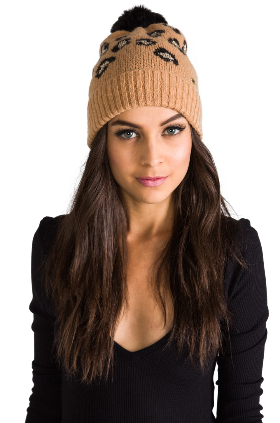 Juicy Couture Leopard Print Beanie with Faux Fur in Leopard