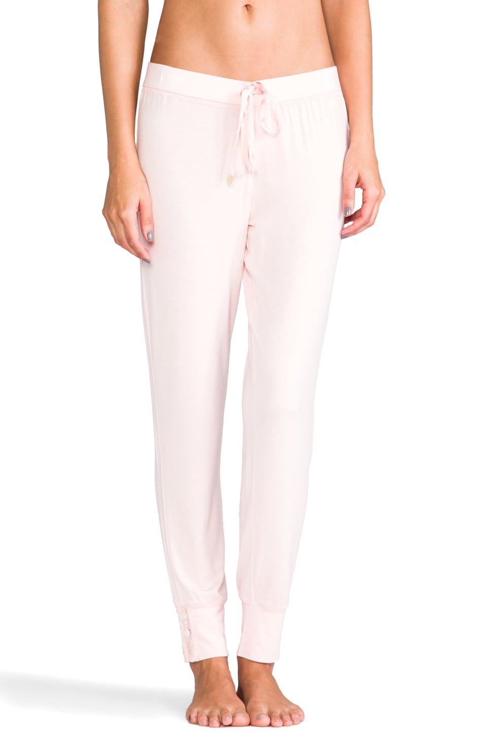Juicy Couture Slim Leg Pant /w Lace Detail in Petal Pink