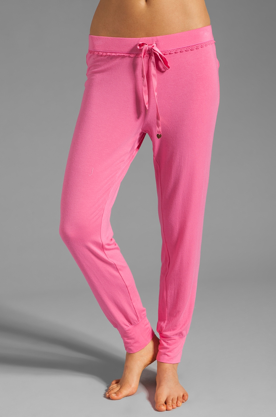 Juicy Couture Slim Leg Pant w/ Lace Detail in Light Helium Pink