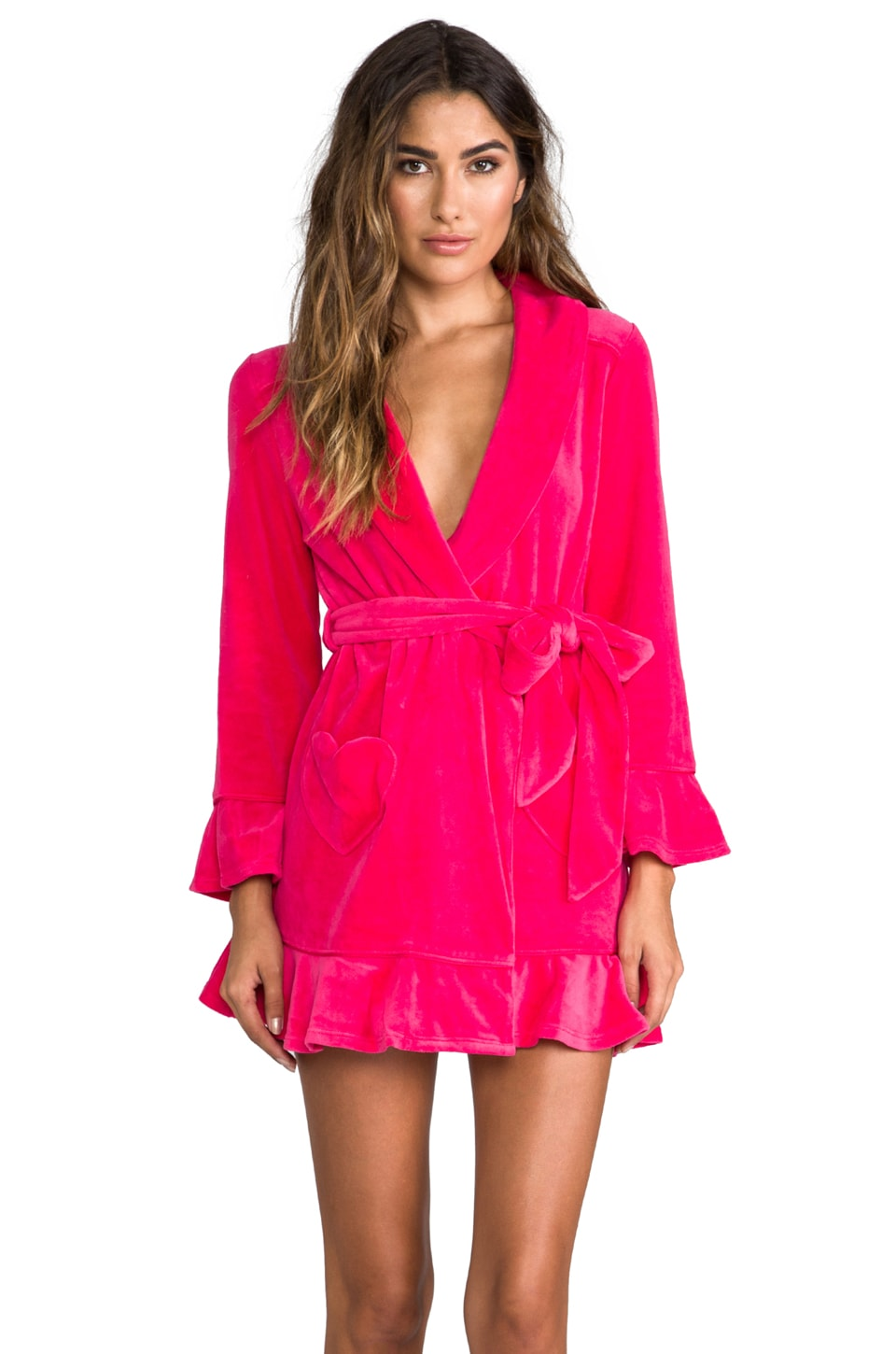 Juicy Couture Velour Robe in Hot Cyclamen