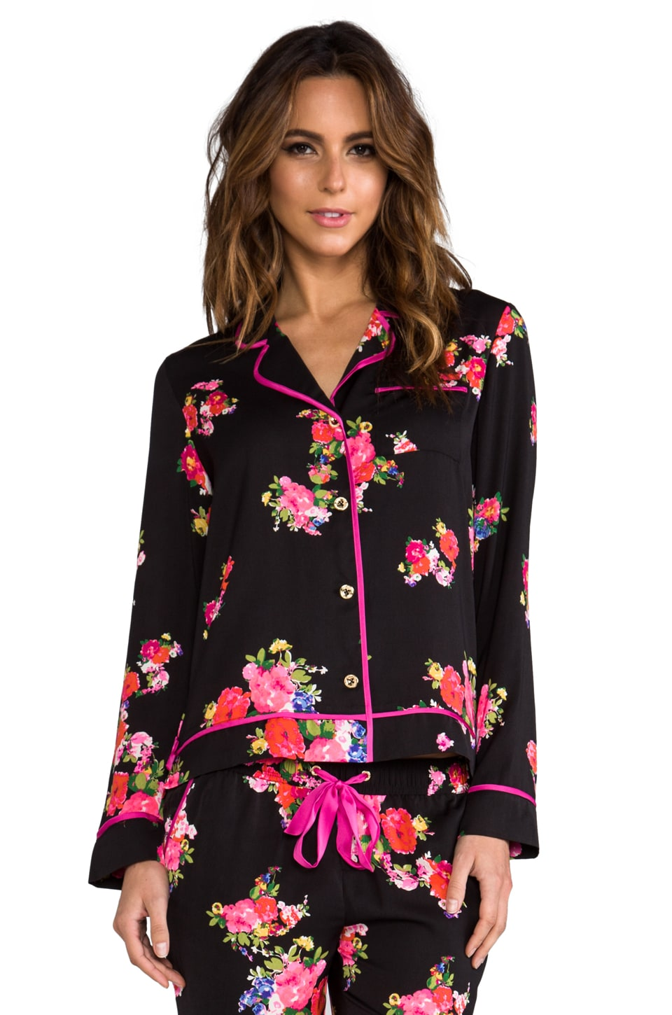 Juicy Couture Jazzy Floral PJ Top in Black & Jazzy Floral