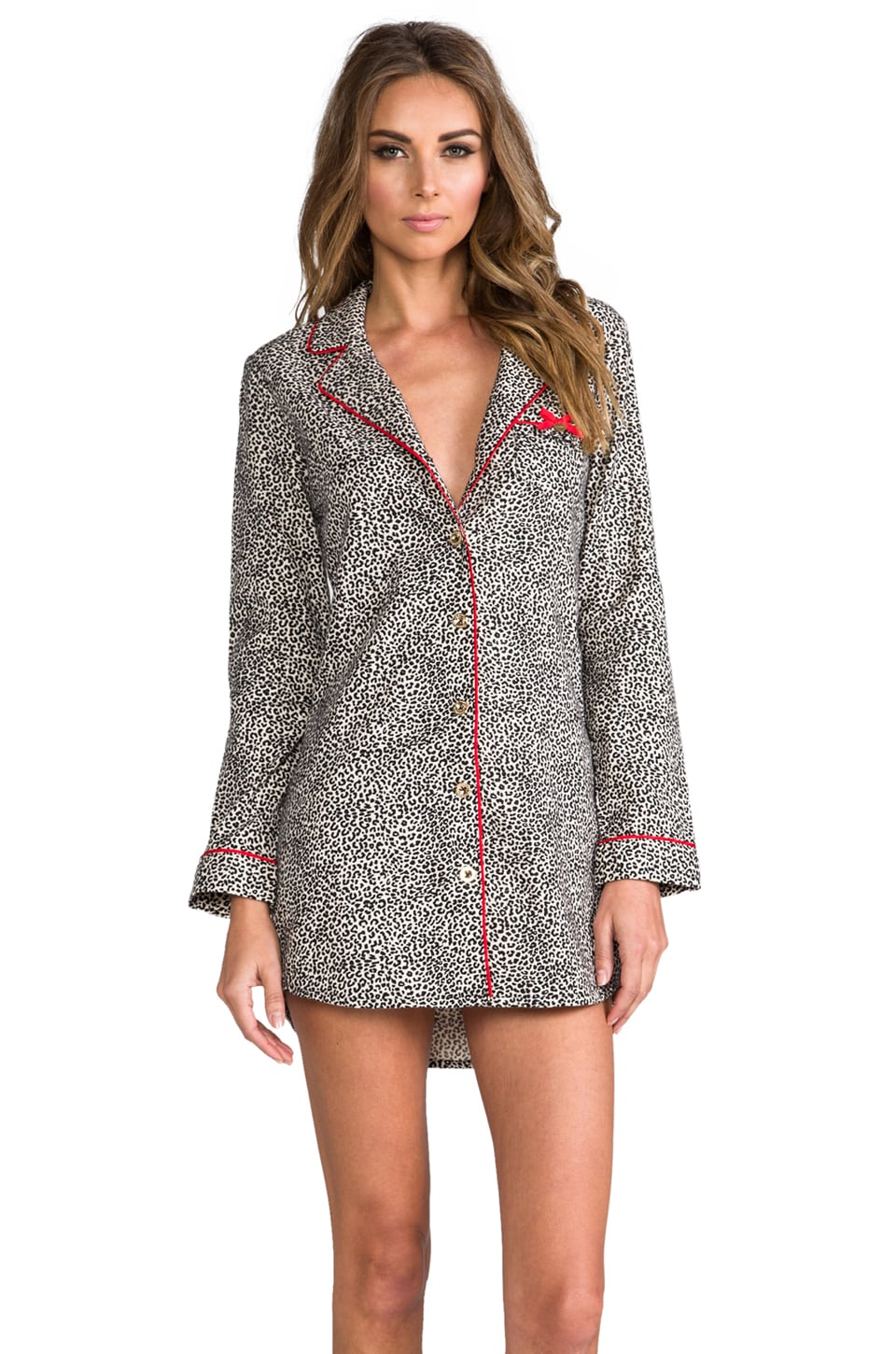 Juicy Couture Flannel Nightshirt in Black Mini Cheetah