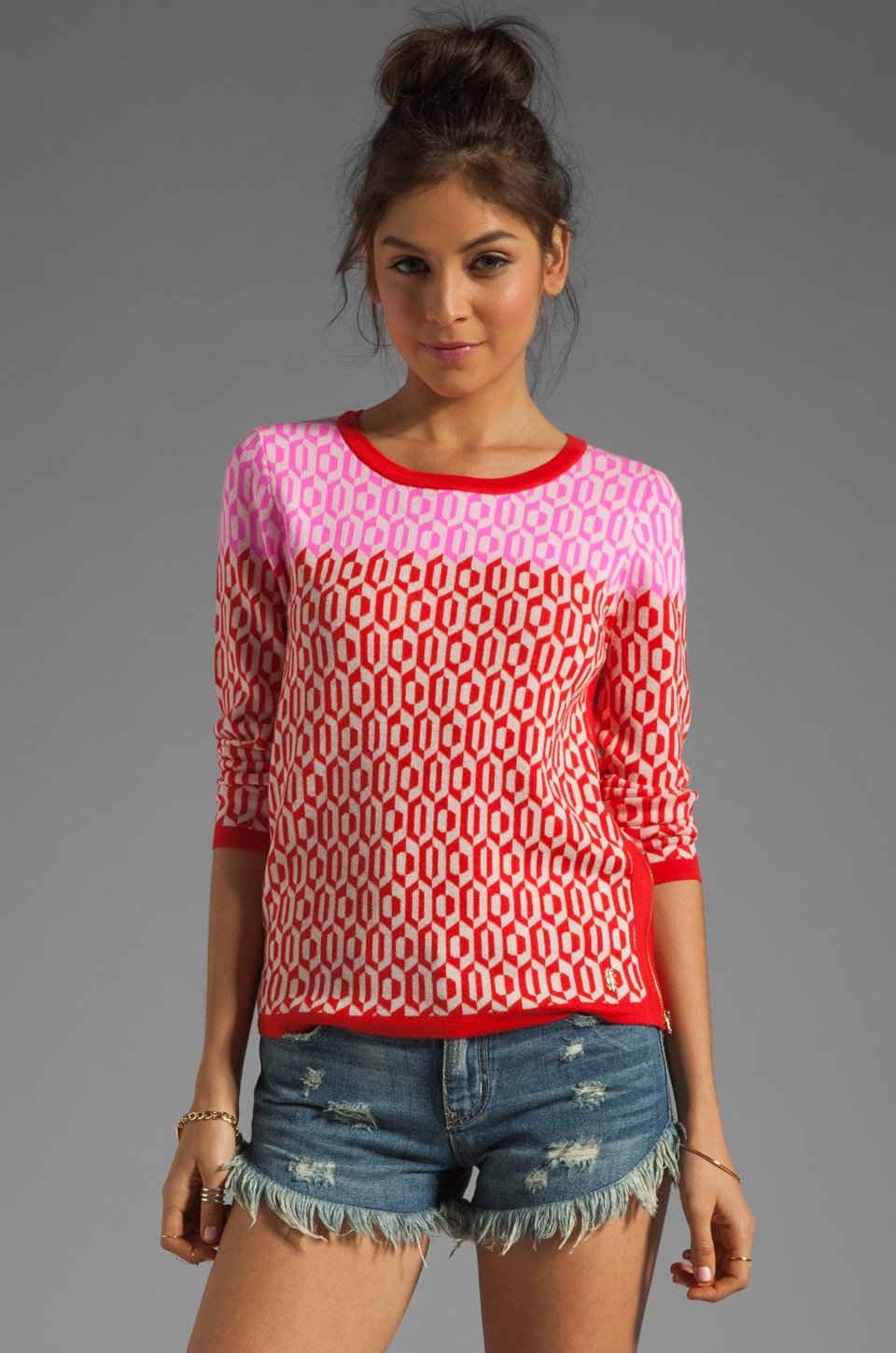 Juicy Couture Aquarius Geo Pullover in Siren/Mademoiselle