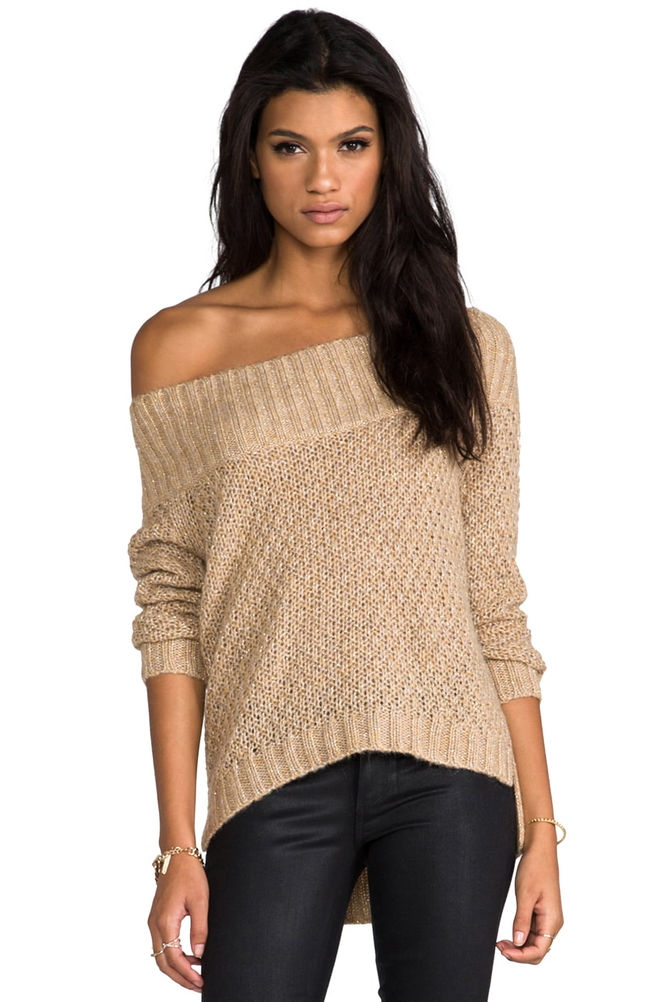 Juicy Couture Waffle Stitch Pullover Sweater in Bronze Sand