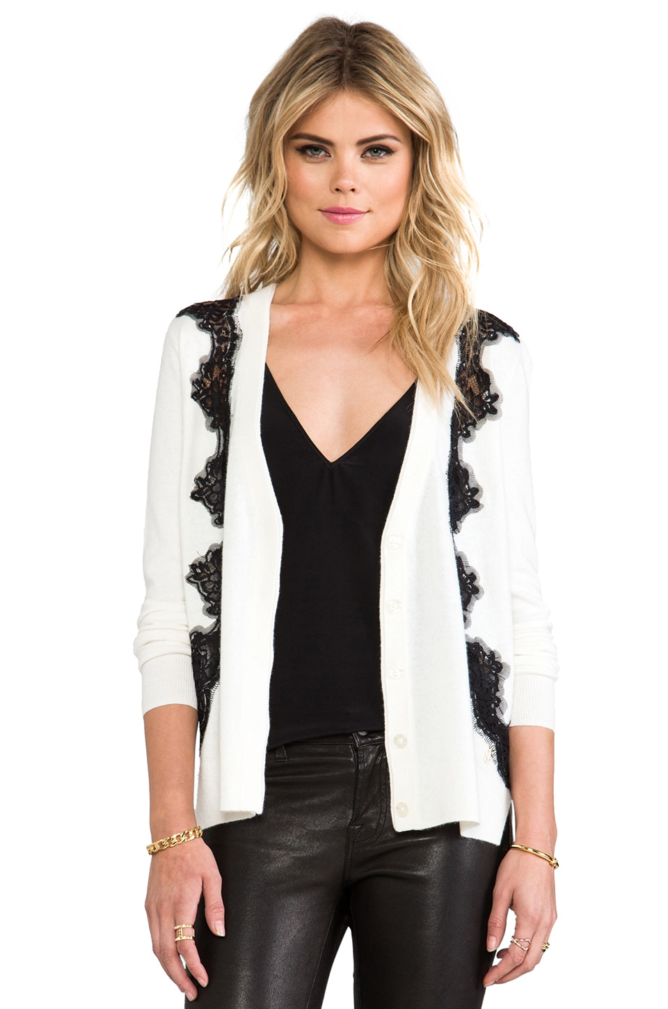 Juicy Couture Lace Inset Cardigan in Angel