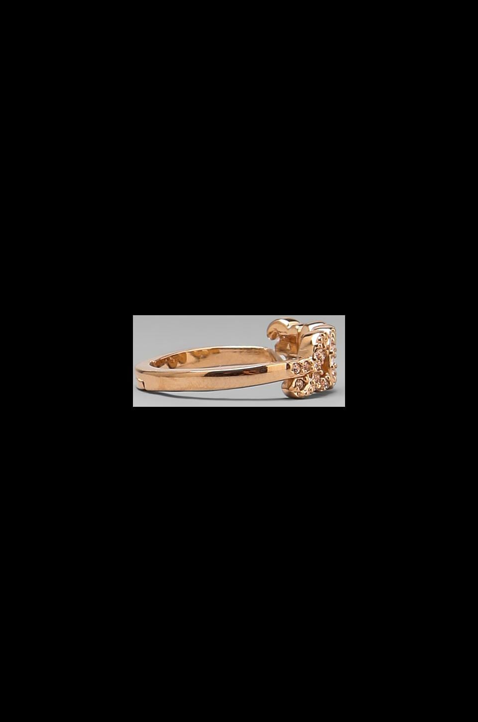 Juicy Couture Pave Love Ring in Pink Gold