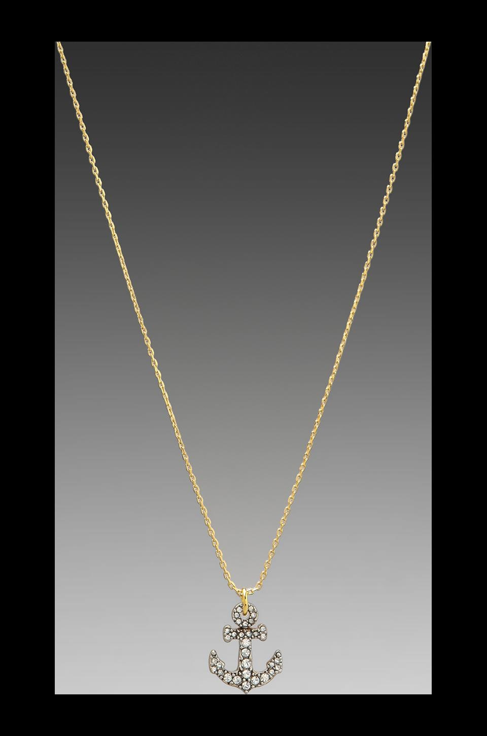 Juicy Couture Pave Anchor Wish Necklace in Gold