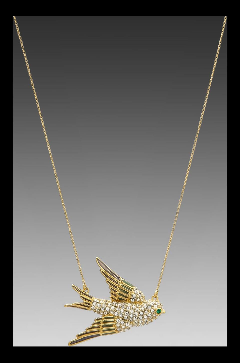 Juicy Couture Pave Bird Necklace in Gold