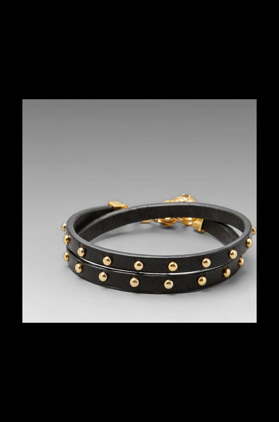 Juicy Couture Double Wrap Leather Bracelet in Black