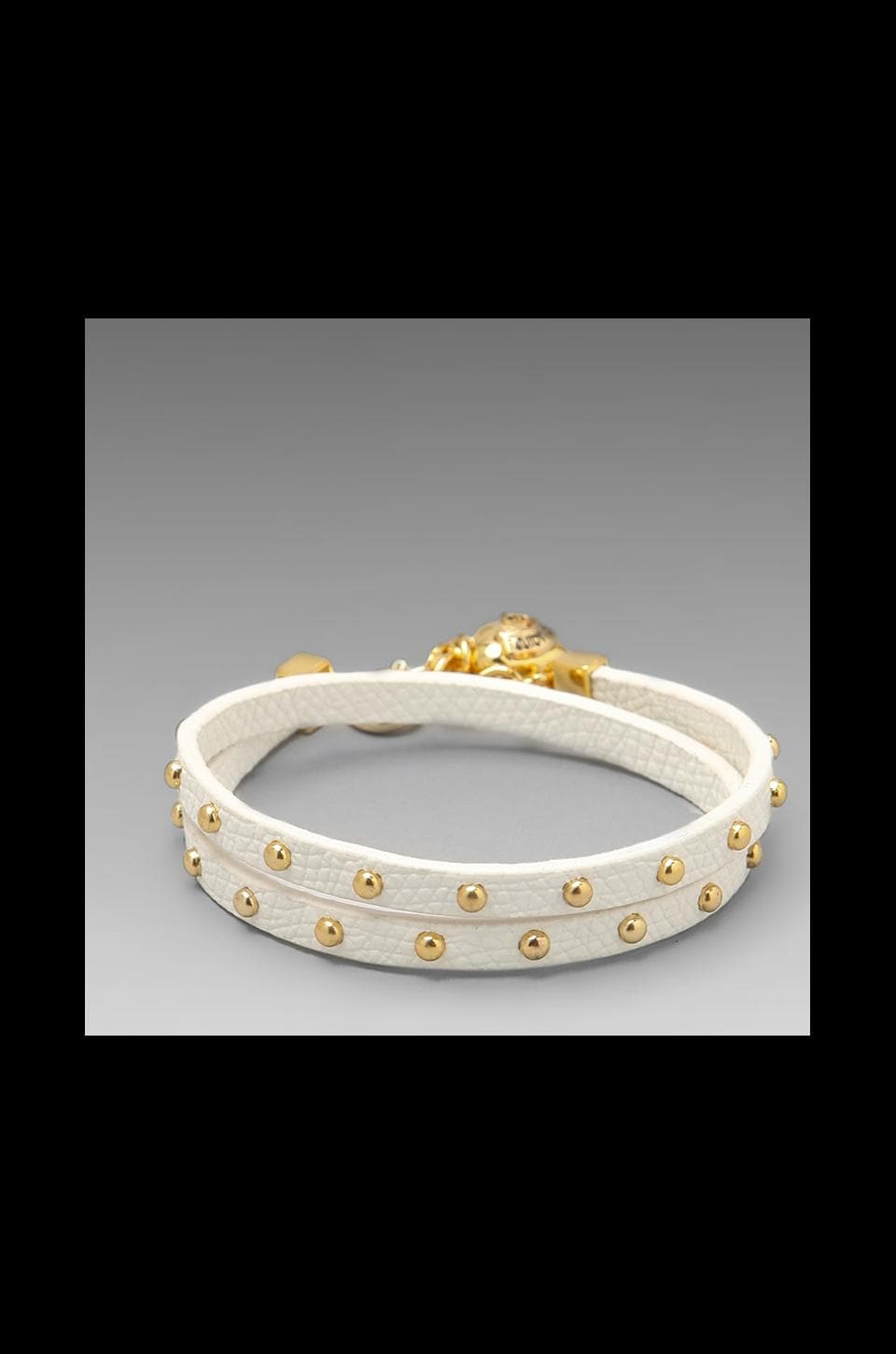 Juicy Couture Double Wrap Leather Bracelet in White